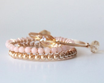 Blush Pink, Gold and Champagne Wire Wrap Gold Bangle Bracelets Set of 3