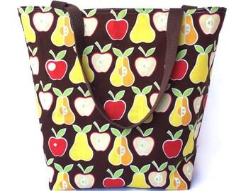 T1. Tote Bag, Reversible Tote Bag, Fabric Tote Bag, Beach Bag, Handbag, Teacher's Tote Bag in Apples and Pears Fabric, Tote Bag for Teachers