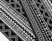 Woven Cotton Fabric Tribal Fabric Native Fabric by the yard Ethnic fabric Aztec fabric Craft Supplies Woven Textile 1/2 yard Black (WF124)