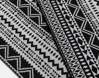 Woven Cotton Fabric Tribal Fabric Native Fabric by the yard Ethnic fabric Aztec fabric Craft Supplies Woven Textile 1/2 yard Black (WFF124)