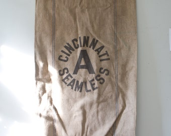 Vintage Canvas Feed Sack - Vintage Cincinnati Seamless Bag Sack Cafe Vintage Bag Vintage Feed Sack