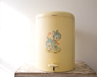 Vintage Yellow Nursery Diaper Pail Diaper Bucket Yellow Deer Diaper Pail Cloth Diaper Cloth Diapering