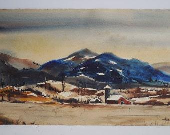 Vintage Original watercolor painting Signed Mountain landscape Barn farm ranch meadow plains
