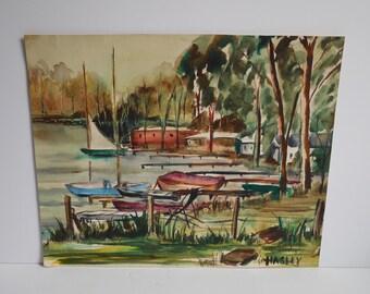 Vintage Original watercolor painting Signed lake house Boats dock Sailboat Nautical Trees water