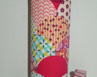 "Insulated Water Bottle Holder for 40oz Hydro Flask with Interchangeble Handle and Strap Made with ""Japanese Kimono Fabric - Modern Flower"""