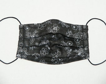 """Premade Pleated Double Gauze Facial Mask for Teens and Adults """"Stitch Flowers - Black"""" & Tio Tio Antibacterial Gauze"""" Size M"""