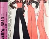 McCall's 3813 Misses' Blouse, Vest and Pants Pattern, UNCUT, Size 14, Vintage 1973, Carefree Pattern, Retro, Casual, Wide Legged Pants