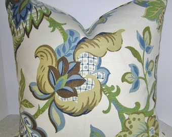 10% OFF BOTH SIDES 20 X 20 Jacobean pillow cover - blue brown cream toss throw accent