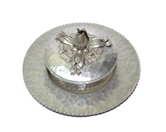 Hammered Aluminum Vanity Set Hammered Aluminum Ring Dish Aluminum Tulip Dish Art Deco Covered Dish