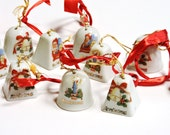 Porcelain Bell Ornaments Vintage 1950s Small Ringing Christmas Tree Decorative Bells Mid Century made in Japan lot of 15 itsyourcountry