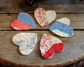 Patchwork Heart Appliques Shabby Prim Homespun Feedsack Embellishments Crafting Upcycled Vintage Cutter Quilt Patches itsyourcountry