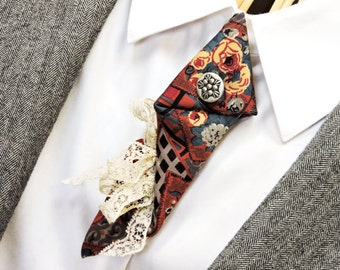 Silk Necktie Brooch, Eco Chic Upcycled Mens Neck Tie Fabric Arrow Pin, Small Ascot, Alternative Boutonniere, Necktie Art itsyourcountry