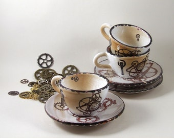 tea cup and plate cappuccino steampunk