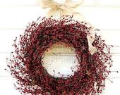 PRIMITIVE Country Wreath- Door Wreaths- Decor-STAR WREATH-Red Wreath-Rustic Primitive Country Decor-Custom Gifts