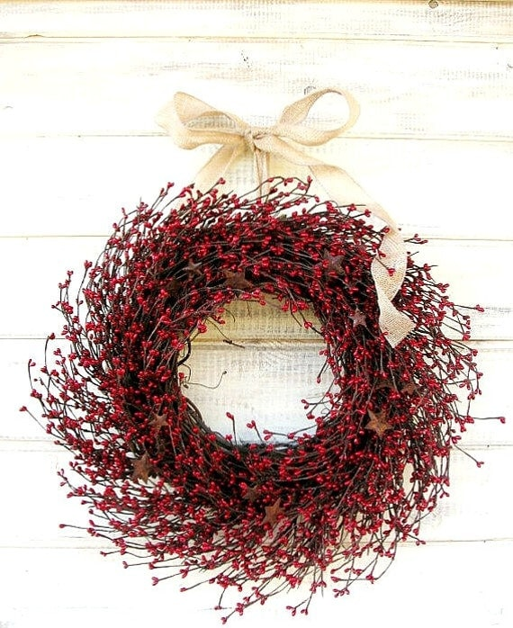 Summer Wreath-4th of July Wreaths-PRIMITIVE Country Wreath-STAR WREATH-Red Door Wreath-Rustic Primitive Country Decor-Custom Made Gifts