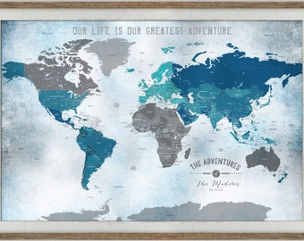 World map with pins, 30X45, Gray Blue, Gift for Husband, Wanderlust, Map for College Professor, Paper Gift, Map for home office