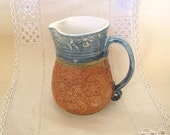 23 oz Pitcher, Hand Thrown Stoneware Jug, Lace Texture, Light Blue, Burnt Orange, Creamer