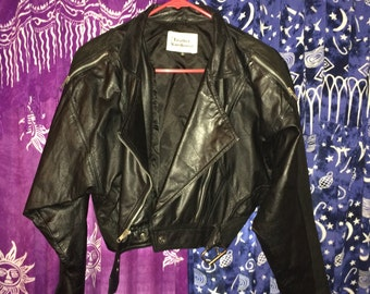 Moto Jacket Black Leather Motorcycle Cropped Crop Asymmetrical Zip Genuine Leather Size 8 Medium