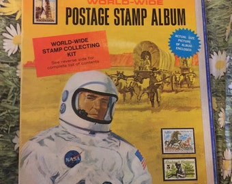 Harris Pioneer World Wide Postage Stamp Album Vintage Collector 1971 with Whole Sheet 50 States and more