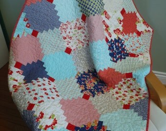 BABY GIRL QUILT - Bonnie and Camille Miss Kate fabrics Fresh Vintage Modern Courthouse Steps