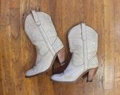 Vintage FRYE Boots / Ecru Leather Cowboy Boots / Women's Size 8 1/2 Shoes