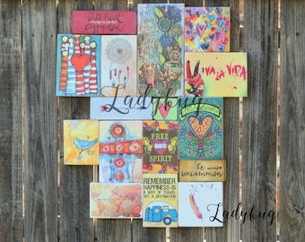 FOLLOW YOUR HEART. Wall art-Mixed media from reclaimed wood. By Ladybug design by Eu