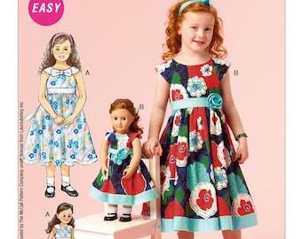 "NEW McCall's 6875 Girls Children & 18"" Doll Dollie Dress's 2-3-4-5 Uncut Factory Folded Laura Ashley EASY"