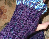 "Fingerless Gloves in Two Tone Purple and Teal Acrylic Blend   Purple Teal & Royal Blue 1"" Edge Ruffle"