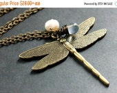 VALENTINE SALE Bronze Dragonfly Necklace. Teardrop Necklace. (CHOOSE Your Color) Charm Necklace. Handmade Jewelry