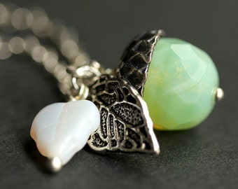 Acorn Necklace. Arctic Mint Crystal Necklace. Mint Green Acorn Pendant. Silver Acorn Charm Necklace. Mint Acorn Jewelry. Handmade Jewelry.