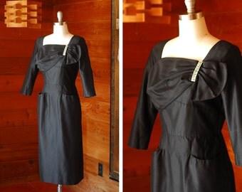 vintage 1950s dress / 50s black cocktail dress / size medium