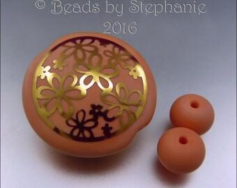 DAISY DAISY - Salmon Peach and Gold Lentil Bead Lampwork Pendant -  by Stephanie Gough sra fhfteam