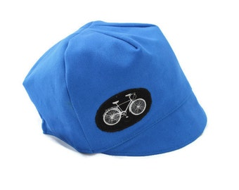 Kids Bike Hat, Cycling Cap, Wee Dee Organic Blue Cotton Reversible,  Baby, Toddler or Child Hat, Organic Cotton, Size XXS XS S M L XL