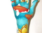 RESERVED for BRENDA ~ Koi Lotus Fabric Hand Free-Ship Jewelry Display HAND-Stand
