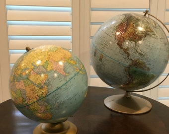 """9"""" desktop Terrestrial Globe from George Cram Co. of Indianapolis, USA."""