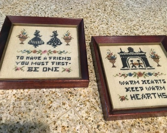 Antique needlepoint  framed friendship victoria fireplace