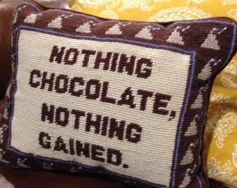 Needlepoint front pillow chocolate kisses brown velvet back