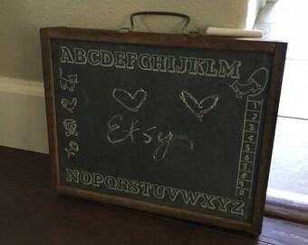 Vintage childs Chalk board peg board drawer