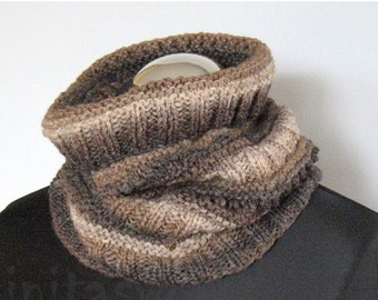 Infinity Scarf Brown Beige Gray Circle Scarf  Cowl Wrap