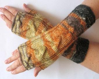 Fingerless Gloves Brown Orange Yellow wrist warmers