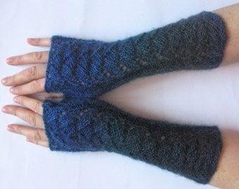 Dark Blue Fingerless Gloves Knit Gloves Winter Gloves Black Green Long Fingerless Gloves