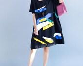 Black sundress Leisure short sleeved dress summer