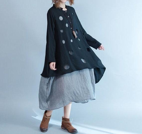 Black Asymmetric loose fitting dress Women long dress