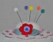 Hat Pin Cushion - White Wool Felt Handmade Hat Pin Cushion