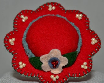 Hat Pin Cushion - Classic Red Wool Felt Handmade Hat Pin Cushion