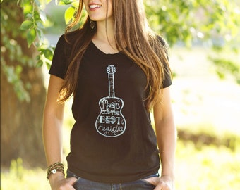 Music Is The Best Medicine - Womens Fitted T Shirt - Black -  S M L XL - Hand Screen Printed