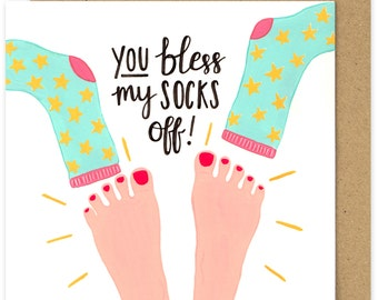 SALE Christian Thank You Card. You Bless My Socks Off Greetings Card. Christian Encouragement Card. Religious Humor. Blessed Blessing