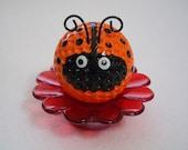 Ladybug Paperweight / Ladybug Desk Flower / Ladybug Decor / Orange Ladybug