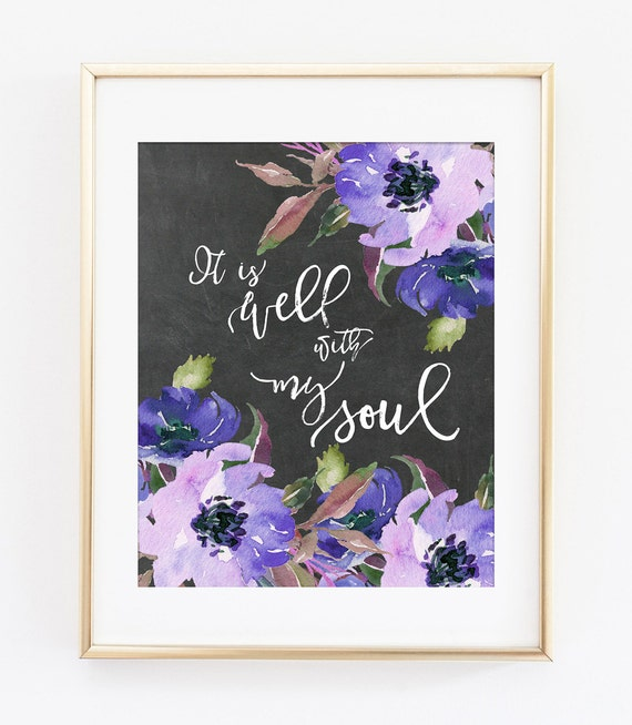 Bible verse art print it is well with my soul