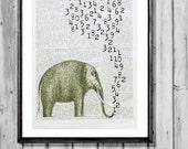 MATHEMATICS elephant professor vintage dictionary art numbers africa india wall art illustration